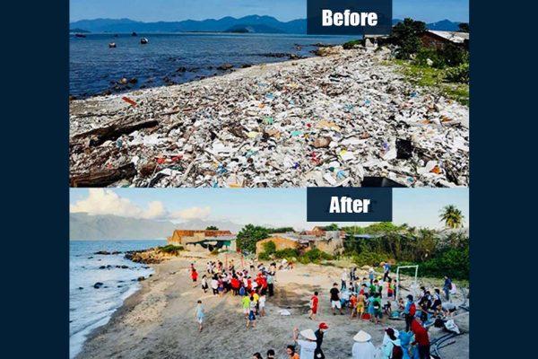Phong trào dọn rác before after ở bãi biển