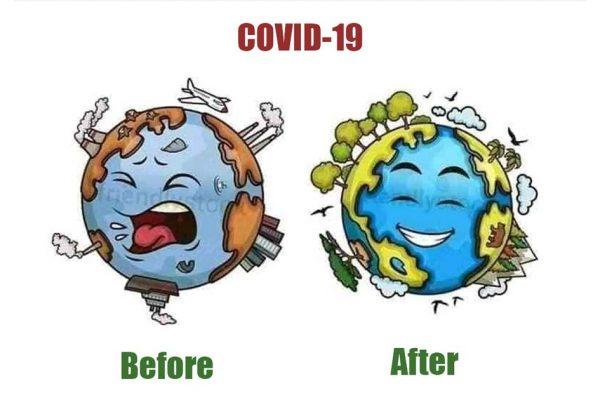 Ảnh minh họa trái đất trước và sau đại dịch Covid-19