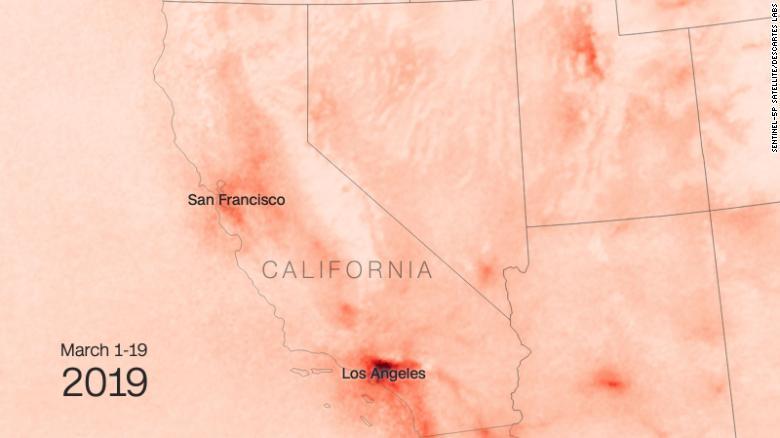So sánh nồng độ NO2 ở California trước và sau Covid-19 - Ảnh tháng 3 năm 2019
