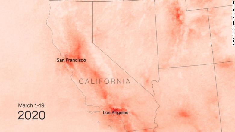 So sánh nồng độ NO2 ở California trước và sau Covid-19 - Ảnh tháng 3 năm 2020