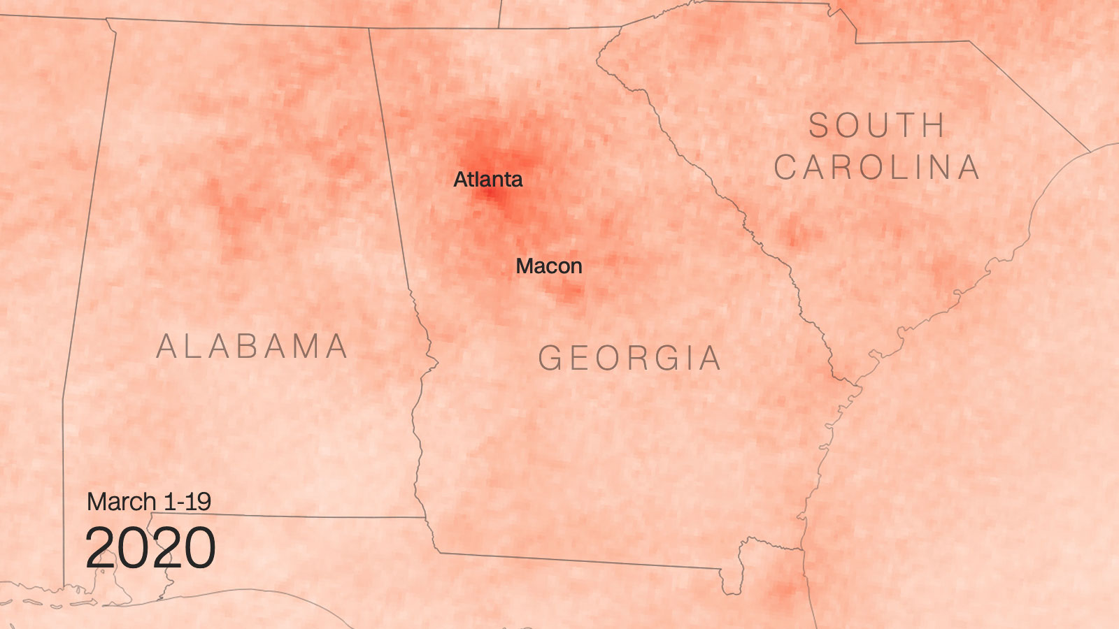 So sánh nồng độ NO2 ở Georgia trước và sau Covid-19 - Ảnh tháng 3 năm 2020