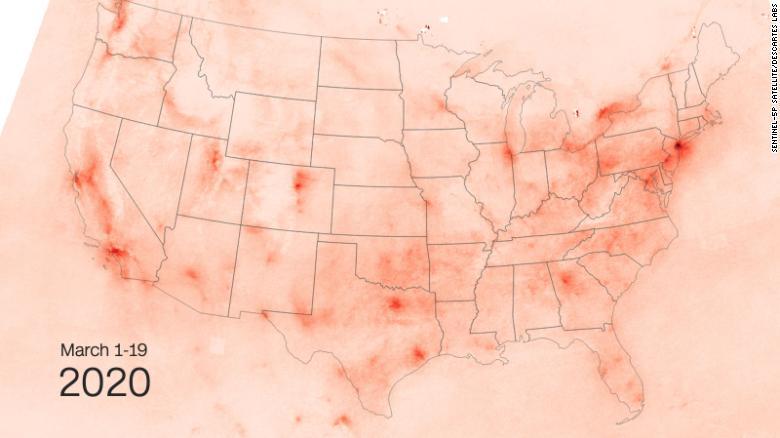 So sánh nồng độ NO2 ở USA trước và sau Covid-19 - Ảnh tháng 3 năm 2020
