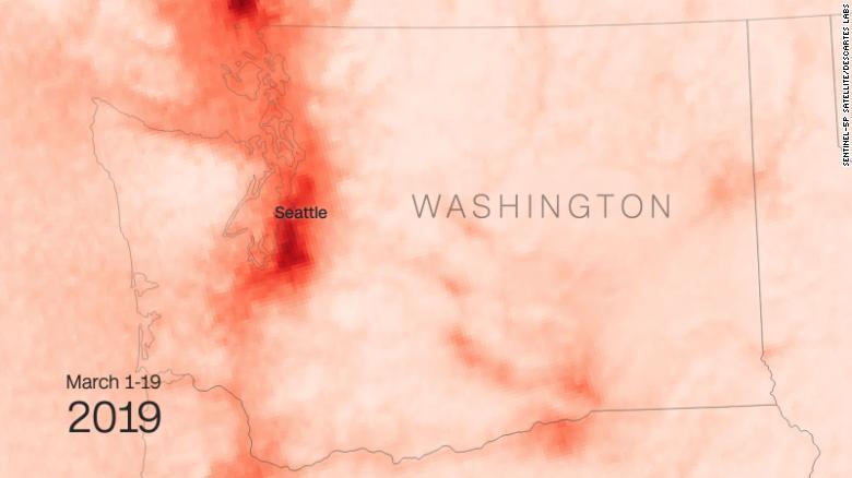 So sánh nồng độ NO2 ở Washington trước và sau Covid-19 - Ảnh tháng 3 năm 2019