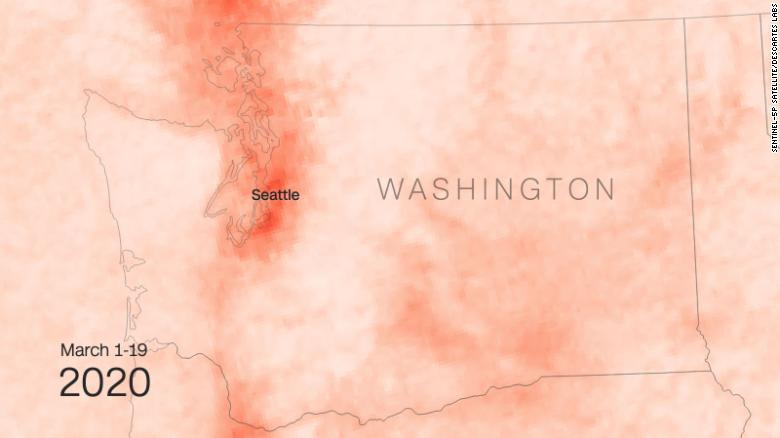 So sánh nồng độ NO2 ở Washington trước và sau Covid-19 - Ảnh tháng 3 năm 2020